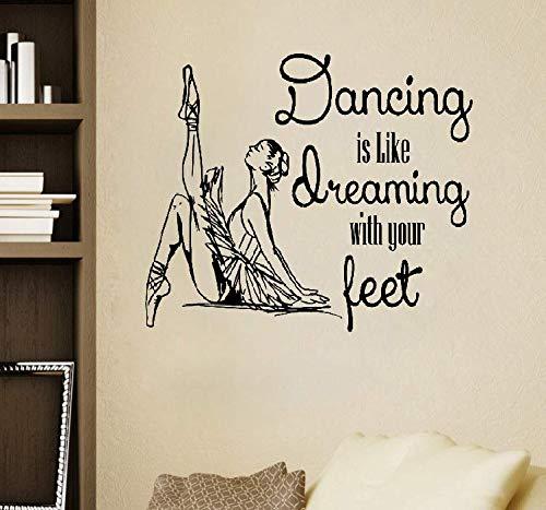 Wandaufkleber Kinderzimmer Zitate Tanzen ist wie das Träumen der Abziehbilder Schlafzimmer Dekor Aufkleber