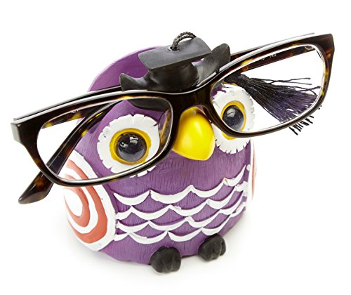 by-Bers Brillenhalter Eule Uhu, lila handbemalt, lustig, für Kinder und junggebliebene Erwachsene