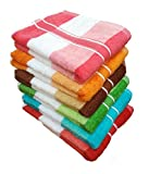 #7: Akin Royal Multicolor Velvet Stripes Cotton Hand Towel Set Of 6