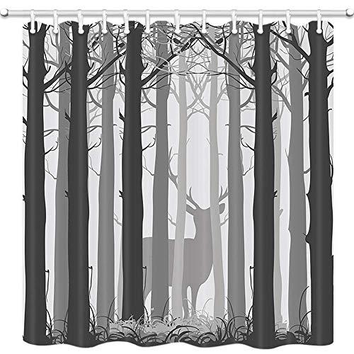 Cortina de Ducha de Ciervos para baño Ciervos en el Bosque Decoración del hogar Cortina de Ducha de Tela Baño Cortina de baño de poliéster Impermeable con 12 Ganchos 72x72 In