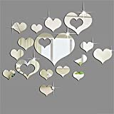 Bluelans® 16pcs Silver Hearts Mirror 3D Wall Stickers Tile Decals DIY Home Decoration