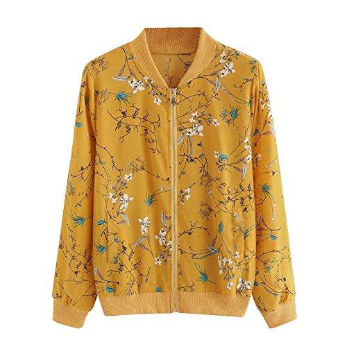Damen Casual Kurz Jacke Blumenmuster Langarm Bomberjacke Reißverschluss Stehkragen Outwear Kurz Coat Herbst Frühling von Innerternet