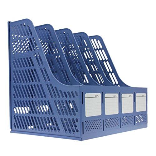 Bxt® 4 compartimentos-Caja de almacenaje polipropileno, para oficina-Organizador de carpetas clasificación Cesta organizadora de documentos-Caja organizadora para carpeta A4 papel módulos, color azul width=