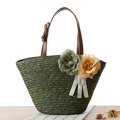 Mefly Neue Garten Zwei Blumen Gewebten Beutel Reine Farbe Gewebten Beutel Strandtasche Army green