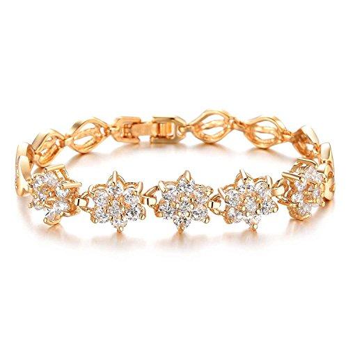 AnaZoz Schmuck Damen Mode Armband Armband Gold 18K Vergoldeten Zirkonia Hochzeit Verlobung