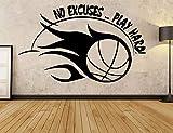 Decalcomanie motivazionali di pallacanestro di sport Nessuna scusa gioca la decorazione dura dell'autoadesivo del vinile della parete per il dormitorio del randello 68 * 42cm di Tranning
