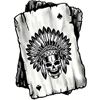 B&W Ace Playing cards Design With Old School American Indian Skull Headdress Motif Vinyl Car Sticker Decal 100x75mm