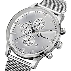 YISUYA Chronograph Mens Watches Quartz-Watch Stainless Steel Mesh Band Silver Watches Sports Xmas Gifts