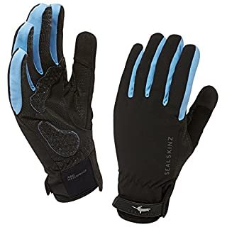 SealSkinz Waterproof Women's All Weather Cycle Glove-Black/Sky Blue, Medium