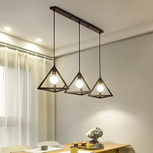 STOEX Lustre Suspensions Industriel Rétro en Métal Cage Lampe Abat-jour Decoratif 3 Douille E27 Eclairage,Noir