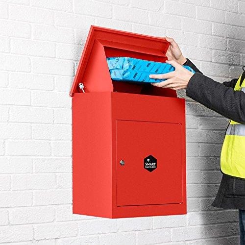 Homescapes Paketbriefkasten aus verzinktem Stahl mit Barcodescannung & Rückholsperre, Smart Parcel Box Medium, Rot, 44 x 35 x 58cm