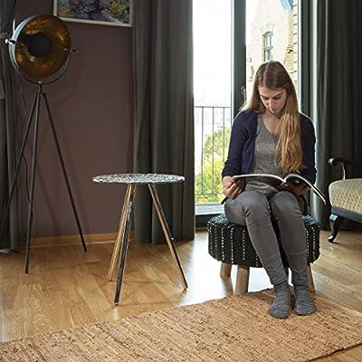 Relaxdays Hocker schwarz gepolstert, Sitzhocker mit Echtleder-Bezug, Fußhocker rund, Mangoholzbeine massiv, HxD 33x56 cm von relaxdays - Gartenmöbel von Du und Dein Garten