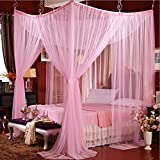 Prinzessin Decke Moskitonetze,Europäischen Palast Netting Bettwäsche Bodenart Bett Baldachin Vier Ecke Netting Vorhänge-Rosa Queen1