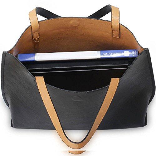 Trend Star Women Handbags Ladies Shoulder Tote Grab designer bags leatherette Z - Schwarz/Nude