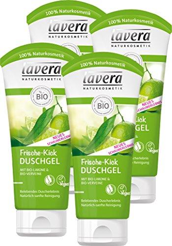 lavera Frische Kick Duschgel Bio Limone ∙ Belebt die Sinne ∙ Pflegedusche erfrischtes Hautgefühl ∙ vegan  Bio Pflanzenwirkstoffe  Naturkosmetik  Natural & innovative 4er Pack (4 x 200 ml)