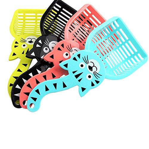 Toruiwa 1X Katzenstreu Schaufel Katzen Schaufel mit Katze Form Griff für Haustier Katzen Kätzchen Hund Zufällige Farbe 28cm