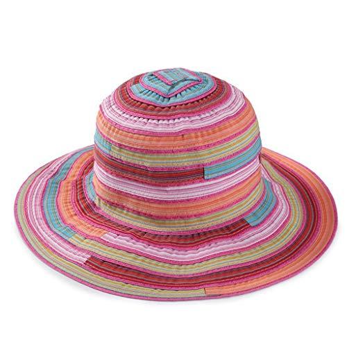 CANDLLY Hut Damen, Mode Damen Erwachsene Gestreifter Print Faltbarer Fischer Hut Sonnencreme Outdoor Cap Kopfschmuck Zubehör