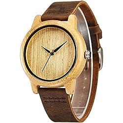 cucol minimalistisch Herren Uhren aus Holz Braun Rindsleder Leder Gurt Holz Uhr für Groomsmen