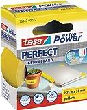 tesa 56343-00037-03 Textilbänder Gewebeklebeband extra Power Gewebeband, 2,75 m x 38 mm, gelb, 2,75m:38mm