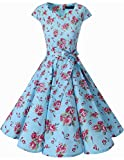 Dresstells Damen Vintage 50er Cap Sleeves Rockabilly Swing Kleider Retro Hepburn Stil Cocktailkleid Small Blue Flower L