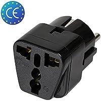 Adaptateur Universel Secteur US/UK / Chine vers Europe (EU) / France (FR) - Prise électrique avec Terre - Normes CE RoHS - 16A - Noir