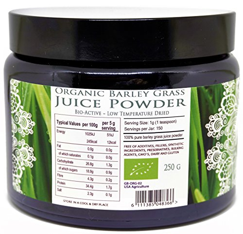 Organic Raw Barley Grass JUICE Powder – Premium Grade & Organic Certified (250 grams)