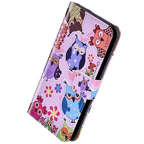 Herbests Kompatibel mit Samsung Galaxy M30 Handyhülle Hülle Flip Case Vintage Luxus Muster Leder Schutzhülle Klappbar Bookstyle Brieftasche Ledertasche mit Magnet,Blumen Eule