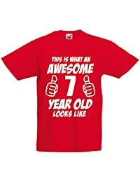 This Is What An Awesome 7 Year Old Looks Like - 7th Birthday Gift T-Shirt For Boys by LOLTOPS