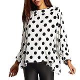 GreatestPAK Damen Sweatshirts Tupfen Langarm Lässig Oberteile Tops Punkt Gedruckt Sweatshirt Lose Pullover Bluse,Weiß,L