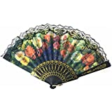 AUM- Lace Trim Colorful, Flower Floral Pattern, Hand Held Folding Plastic Japanese Silk Hand Fan (Black-L5).100% Hand Crafted, Gift Fan For Girls, Women, Wedding Party. Buy 100% Original Imported Hand Fan From Aum Impex Only