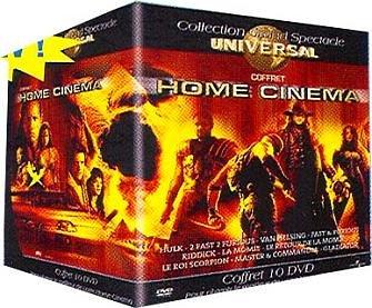 Coffret Home cinema 10 DVD: Hulk / 2 fast 2 furious / Van Helsing / Fast & Furious / Les Chroniques de Riddick / La Momie / Le Retour de la momie / Le Roi scorpion / Master and Commander / Gladiator Scorpion Commander