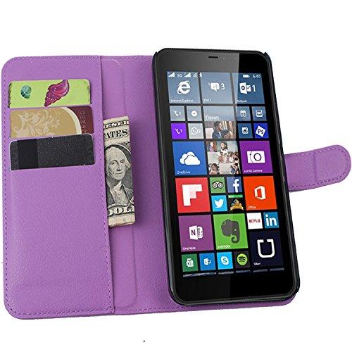 Tasche für Nokia Microsoft Lumia 640 XL Dual-SIM Hülle, Ycloud PU Ledertasche Flip Cover Wallet Case Handyhülle mit Stand Function Credit Card Slots Bookstyle Purse Design lila