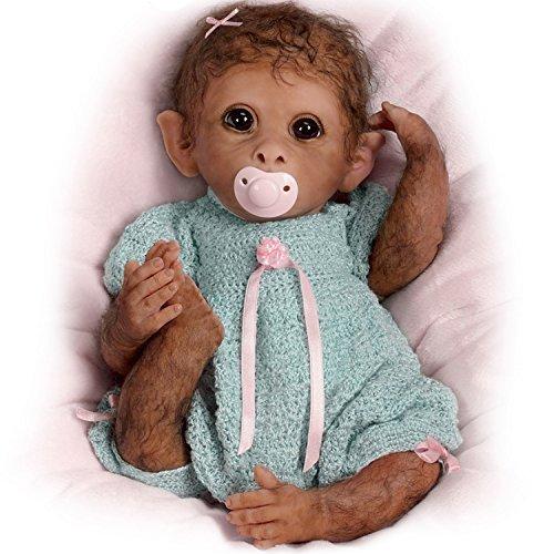 Tan realmente preponderado al Real y totalmente Poseable bebé mono de peluche por Linda Murray por el Ashton-Drake Galleries