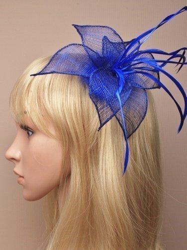 Tocado para el cabello, tejido sinamay, diseño de plumas y pétalos, con clip, color azul