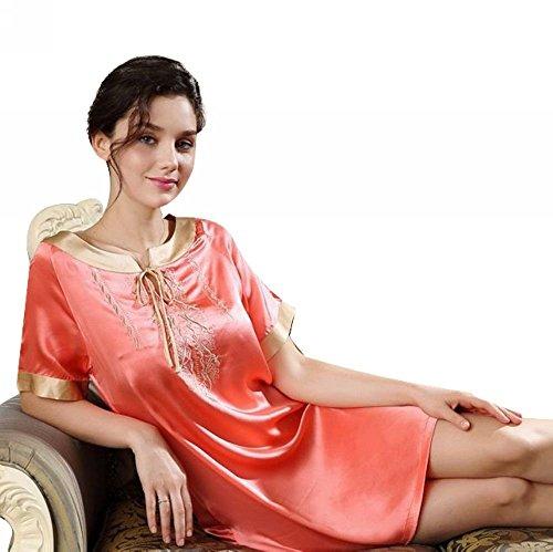 LONXU camicia da notte donna 100% seta Pink