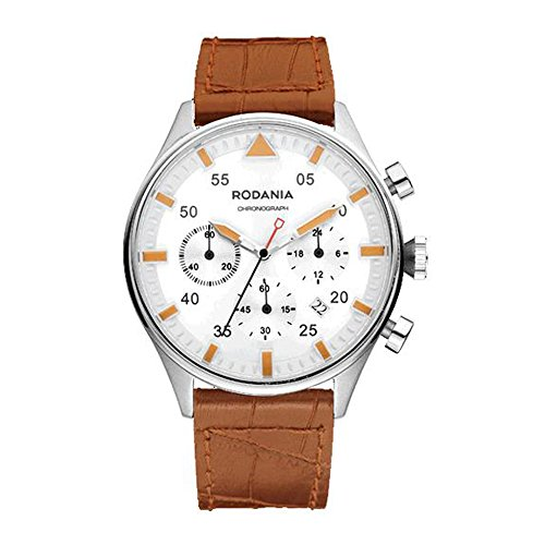 Rodania Energy Mirage Homme 44mm Bracelet Cuir Marron Quartz Montre 26168-23
