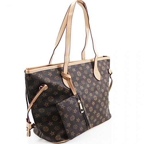 LeahWard® Damenmode Designer Schultertaschen Qualität Kunstleder Shopper Handtaschen 41412 (Braun Blumen) (Designer-handtasche Blume)