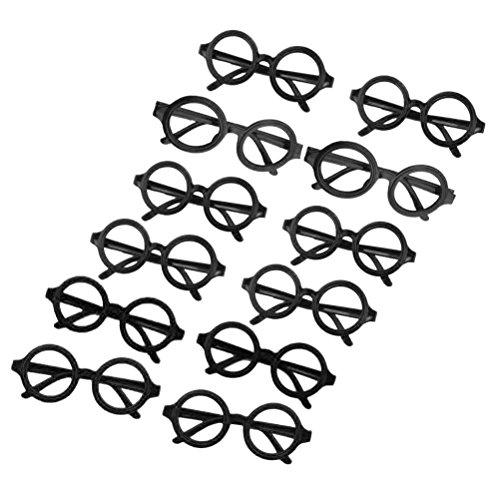 Tinksky 12pcs runde Gläser Rahmen keine Linsen Brillen Posing Requisiten Kostüm (schwarz)