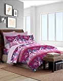 Bombay Dyeing Foliage 130 TC Polycotton Double Bedsheet with 2 Pillow Covers - Magenta