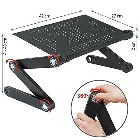 Wonder Worker Newton Table de Lit pour Ordinateur Portable Laptop Réglable Pliant Aluminium Léger Noir
