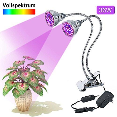 LED VOLLSPEKTRUM Pflanzenlampe,Lovebay 36W 80LED Wachstumslampe,390nm-745nm Lichtspektrum ähnlich dem Sonnenlicht,44Rot(630nm)+ 24Blau(470nm)+4Weiß(2300k)+4IR(745nm)+4UV(400nm),Überwintern Grow light