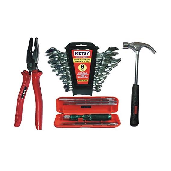 Ketsy 731 4 Pcs. Hand Tool Kit (Screwdriver Set Of 6 Pcs.,Combination Plier 8 Inch, Doe Spanner 8 Pcs.,Claw Hammer Steel Shaft 1/2Lb)