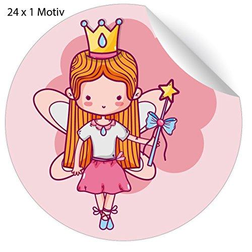 24 süße rosa Mädchen Aufkleber mit magischer Zauber Feen Prinzessin auch zur Einschulung, MATTE Papieraufkleber für Geschenke, Mitgebsel, universal Etiketten für Schule, Deko (4,5cm)