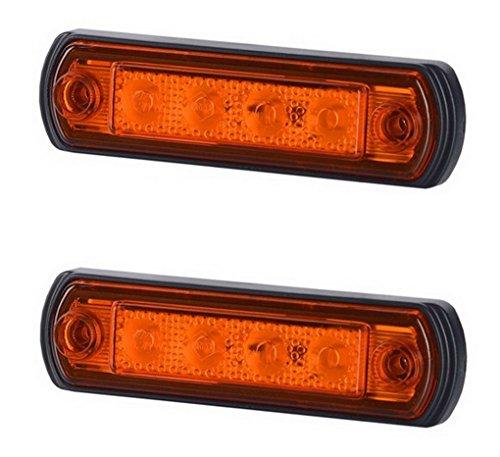 Preisvergleich Produktbild 2 x 4 SMD LED Orange Begrenzungsleuchte Seitenleuchte 12V 24V mit E-Prüfzeichen Positionsleuchte Auto LKW PKW KFZ Lampe Leuchte Licht Gelb Universal