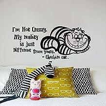Pared del gato de Cheshire vinilo de la cotización Adhesivos de Alicia en el parachoques Nursery Dormitorio Decoración de interiores Diseño Arte Mural MN901