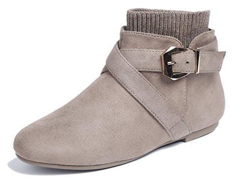 AgeeMi Shoes Damen Schnalle Rund Schließen Zehe Flache Kurzschaft Stiefeletten,EuX32 Braun 39 (Faux Schnalle Wildleder)