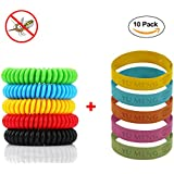 Mosquito Repellent Bracelet,10 pack, All Natural Oil Bug Repellent,Non-Toxic Indoor and Outdoor Insect Repellent, Safe Deet-Free Band For Kids&Adults