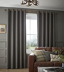 "Plain Wool Effect Woven Grey Lined 66"" X 108"" - 168cm X 274cm Ring Top Curtains by Curtains"