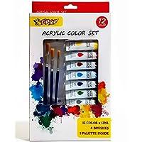 Tiptop 12 Color Acrylic Paints with Brushes & Palette Paint Set