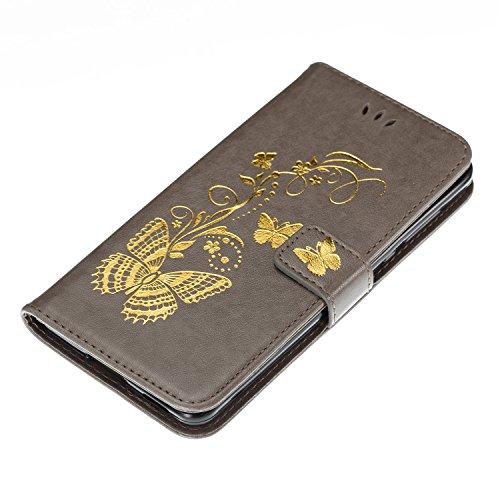 Coffeetreehouse iphone X Coque Papillon bronzant Motif PU Lanyard Cuir Flip Housse Étui Cover Case Wallet Portefeuille Supporter avec Carte de Crédit Fentes pour iphone X - Vert Gris